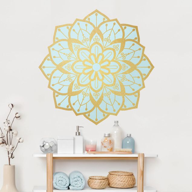 Wandtattoo - Mandala Blüte Muster gold hellblau