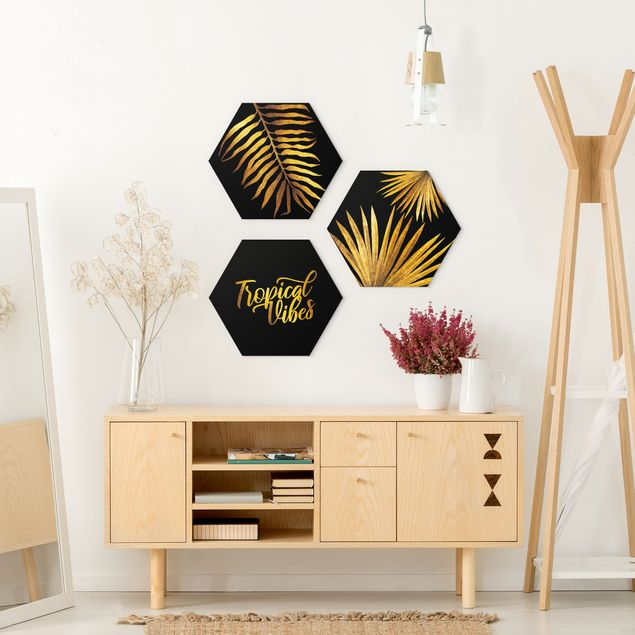 Hexagon Bild Forex 3-teilig - Gold - Tropical Vibes auf Schwarz Set I