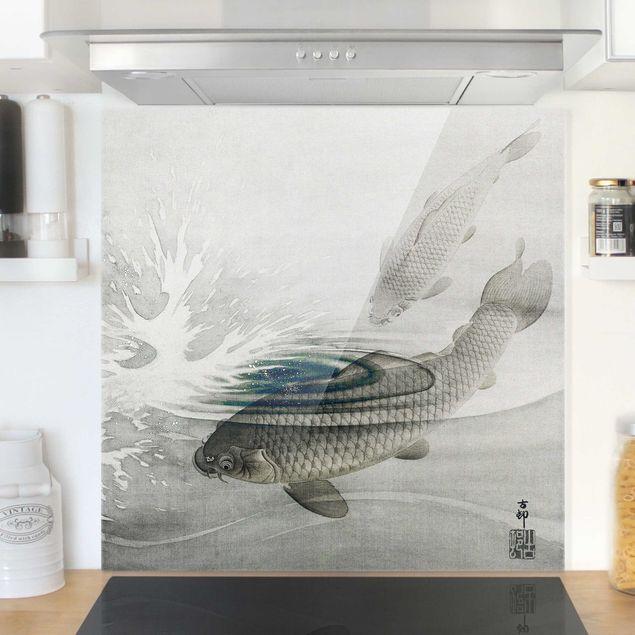 Glas Spritzschutz - Vintage Illustration Asiatische Fische III - Quadrat - 1:1