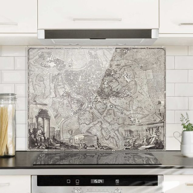 Glas Spritzschutz - Vintage Stadtplan Rom - Querformat - 4:3