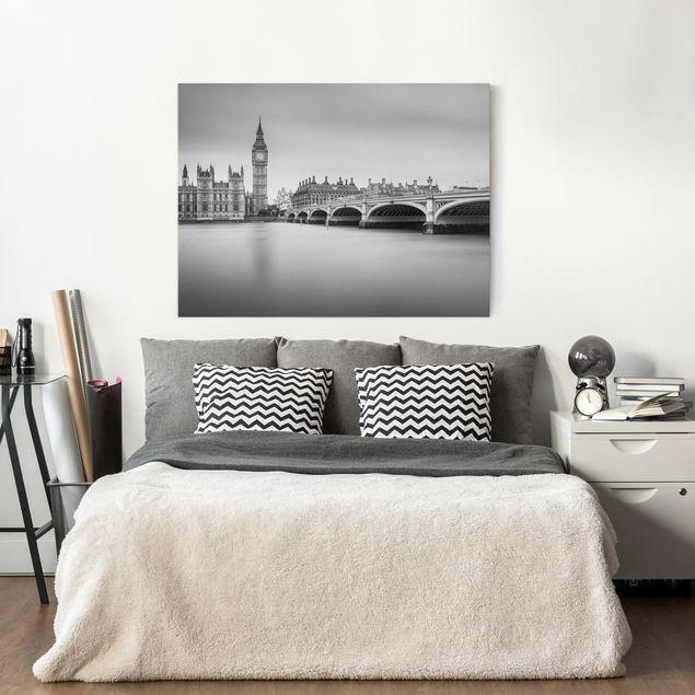 Leinwandbild - Westminster Brücke und Big Ben - Querformat 3:4