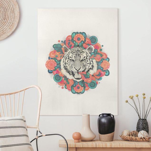 Leinwandbild - Illustration Tiger Zeichnung Mandala Paisley - Hochformat 4:3