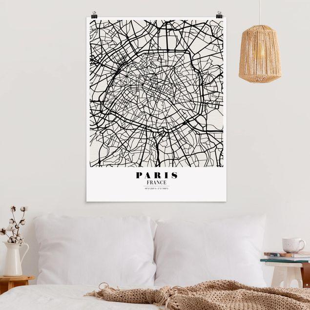 Poster - Stadtplan Paris - Klassik - Hochformat 3:4