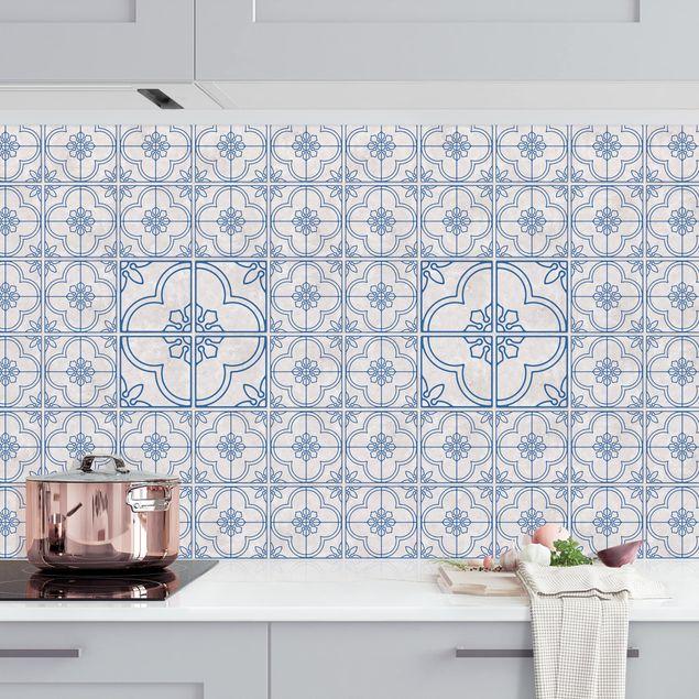 Küchenrückwand - Fliesenmuster Lagos blau
