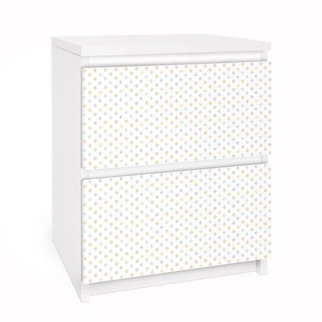 Möbelfolie für IKEA Malm Kommode - Pastell Dreiecke - Selbstklebefolie