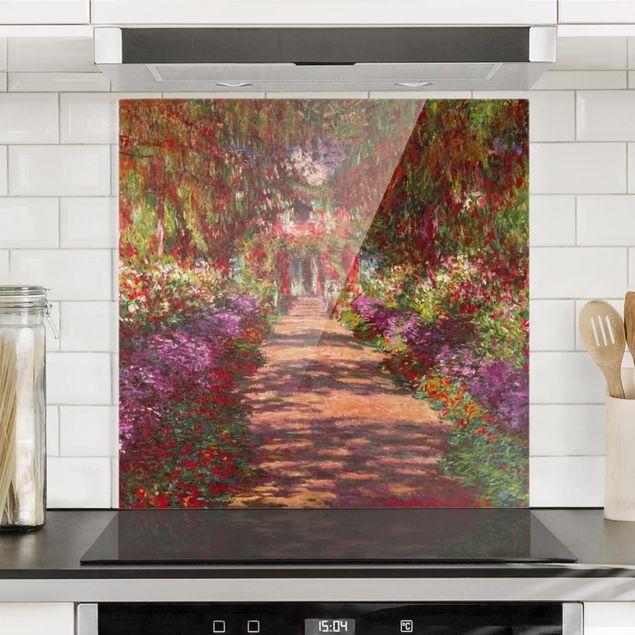 Glas Spritzschutz - Claude Monet - Weg in Monets Garten in Giverny - Quadrat - 1:1