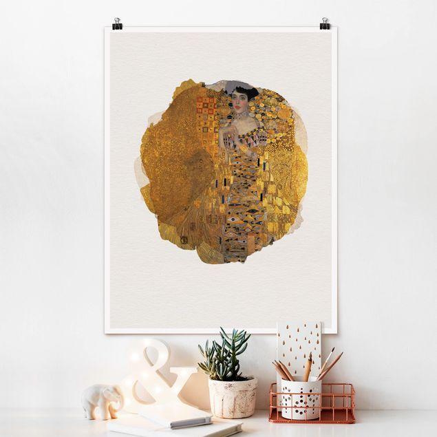 Poster - Wasserfarben - Gustav Klimt - Adele Bloch-Bauer I - Hochformat 4:3