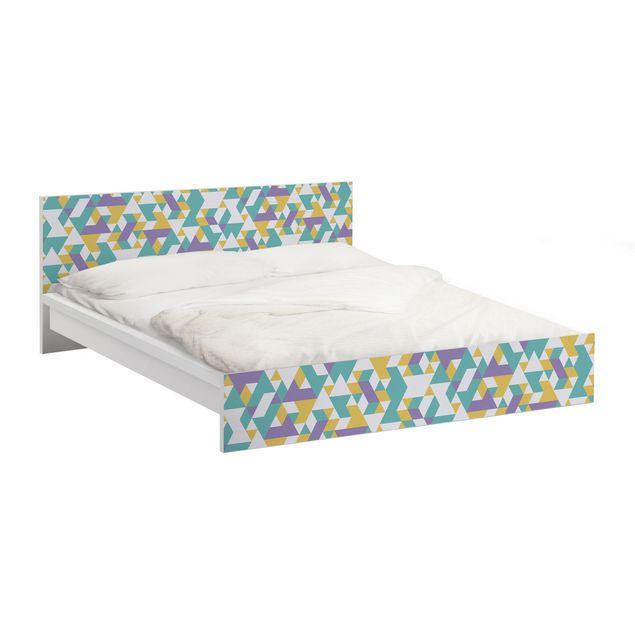 Möbelfolie für IKEA Malm Bett niedrig 160x200cm - Klebefolie No.RY33 Lilac Triangles