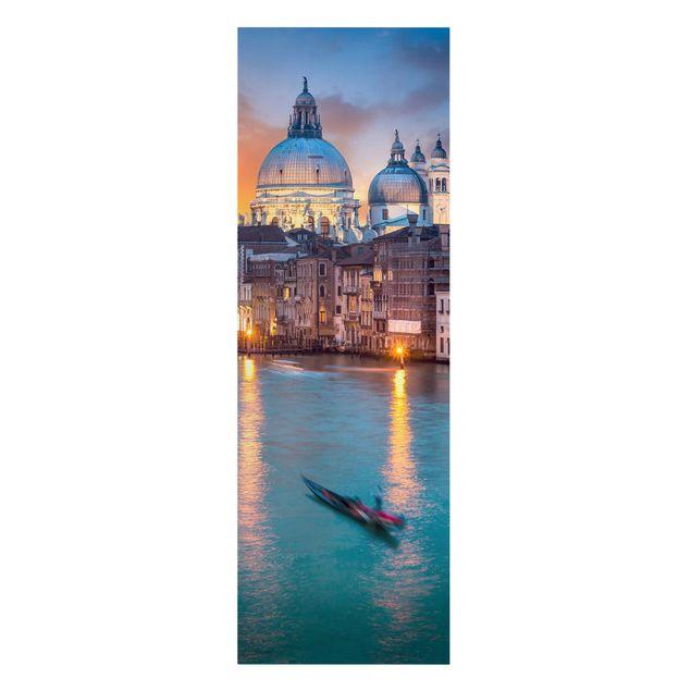 Leinwandbild - Sunset in Venice - Panorama Hochformat 1:3