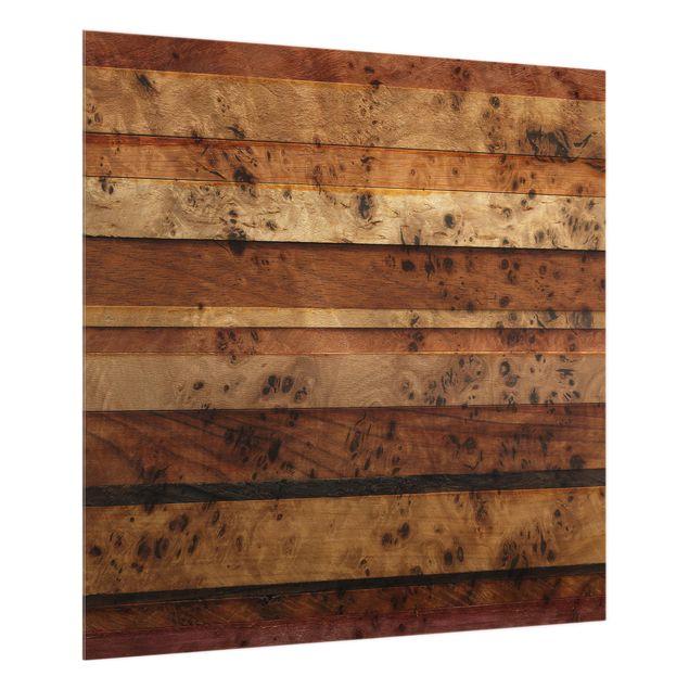 Glas Spritzschutz - Woody Birdseye Garderobe - Quadrat - 1:1