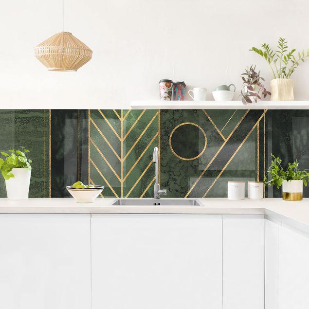 Küchenrückwand - Geometrische Formen Smaragd Gold