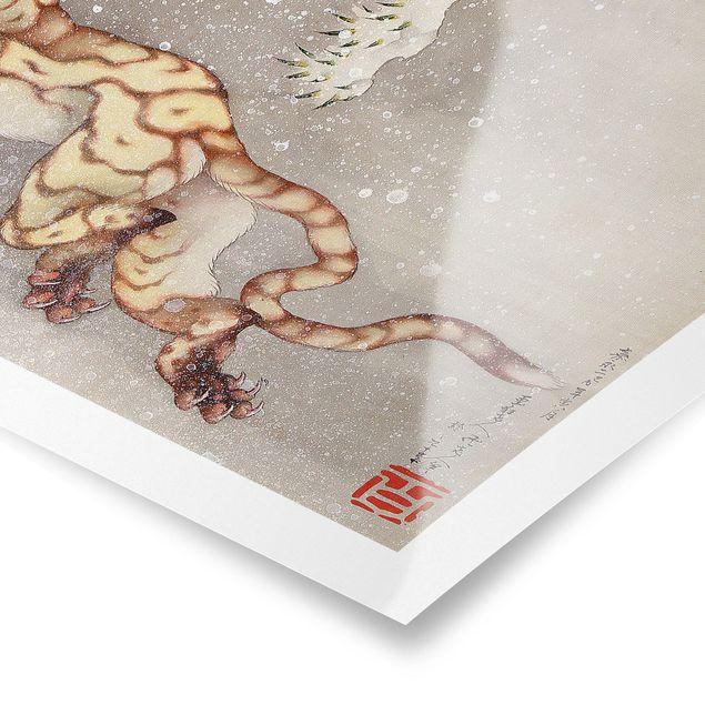 Poster - Katsushika Hokusai - Tiger in Schneesturm - Querformat 2:3
