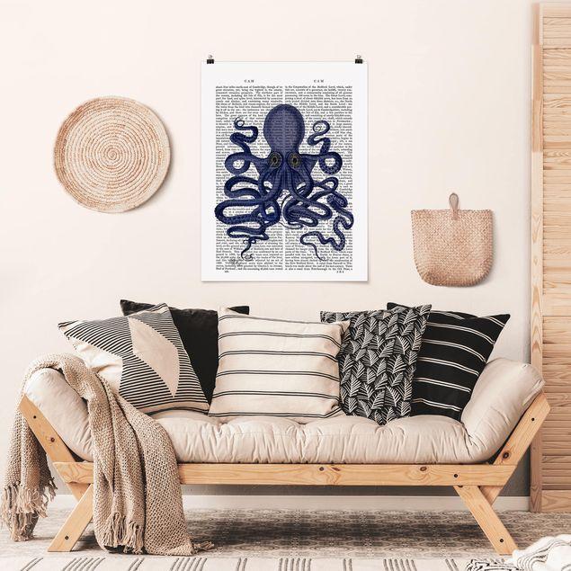 Poster - Tierlektüre - Oktopus - Hochformat 3:4