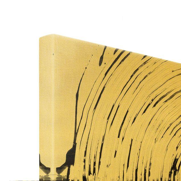 Leinwandbild Gold - Verschmelzung Schwarz Weiß - Querformat 3:2