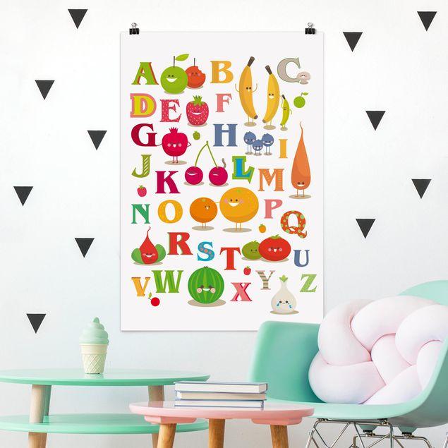 Poster - No.EK120 Lustiges Obst & Gemüse Alphabet - Hochformat 3:2