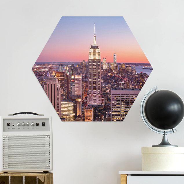 Hexagon Bild Alu-Dibond - Sonnenuntergang Manhattan New York City