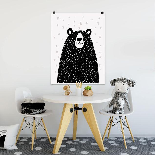 Poster - Tierpark mit Mustern - Bär - Hochformat 3:4