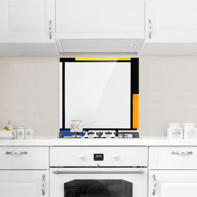 Glas Spritzschutz - Piet Mondrian - Komposition II - Quadrat - 1:1
