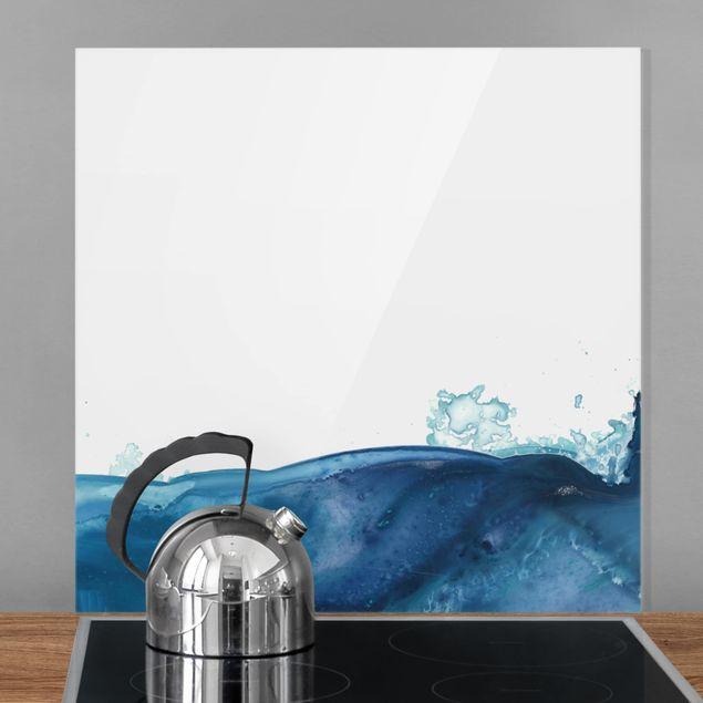 Glas Spritzschutz - Welle Aquarell Blau II - Quadrat - 1:1