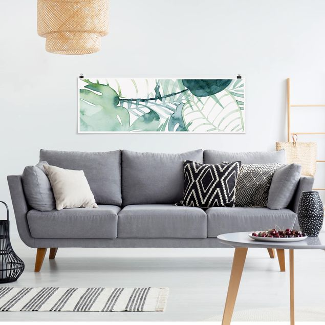 Poster - Palmwedel in Wasserfarbe II - Panorama Querformat