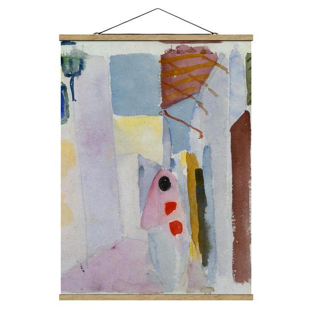 Stoffbild mit Posterleisten - August Macke - Frau auf der Straße - Hochformat 3:4