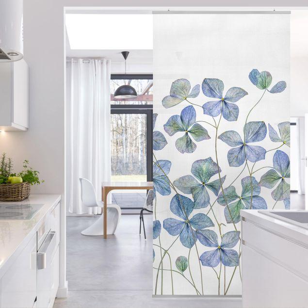 Raumteiler - Blaue Hortensienblüten - 250x120cm