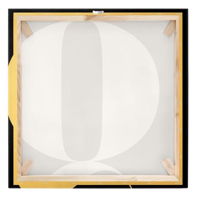 Leinwandbild Gold - Antiqua Letter Q Schwarz - Quadrat 1:1