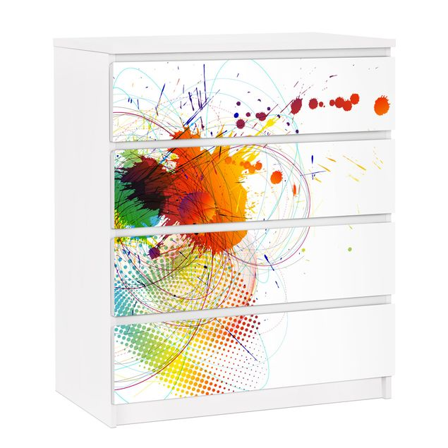 Möbelfolie für IKEA Malm Kommode - selbstklebende Folie Rainbow Background