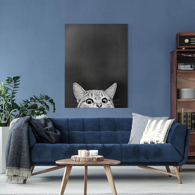 Leinwandbild - Illustration Katze Schwarz Weiß Zeichnung - Hochformat 4:3