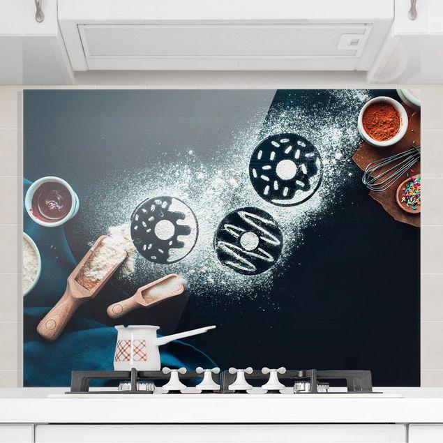 Glas Spritzschutz - Backrezept Donuts - Querformat - 4:3