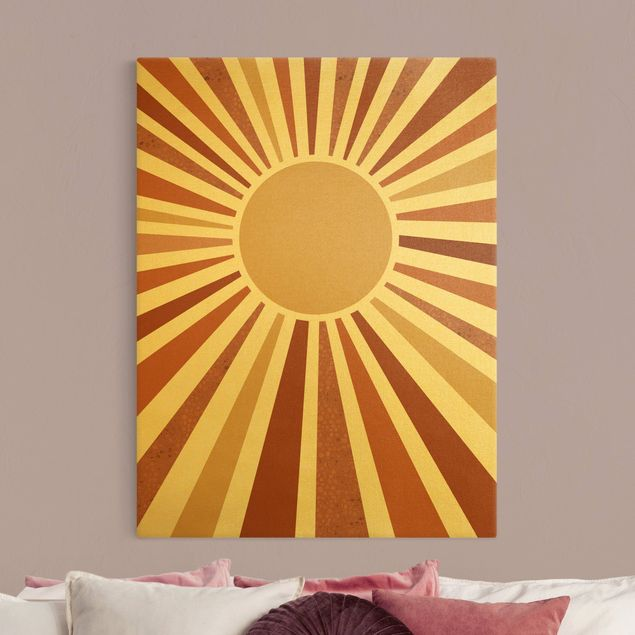 Leinwandbild Gold - Goldener Sonnenschein - Hochformat 3:4