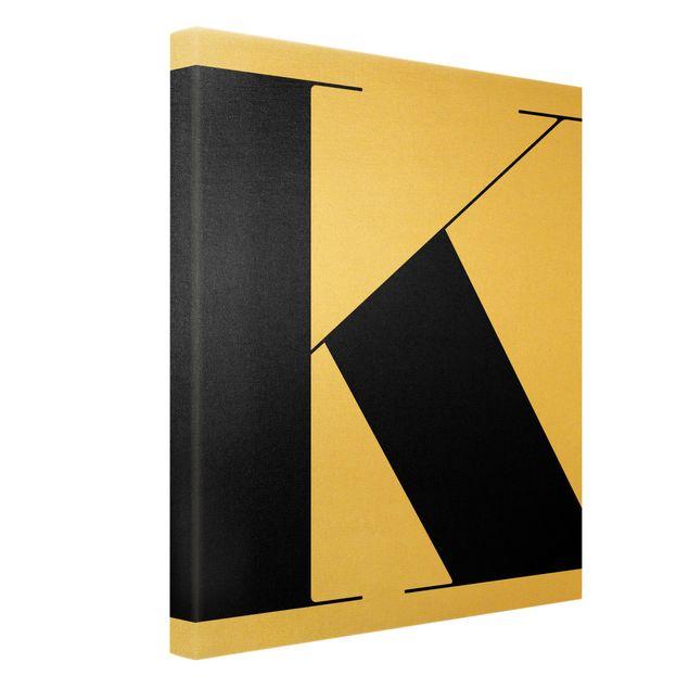 Leinwandbild Gold - Antiqua Letter K - Hochformat 3:4