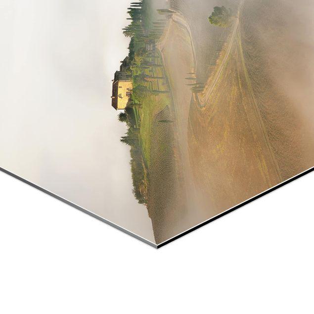 Hexagon Bild Alu-Dibond - Morgennebel in der Toskana