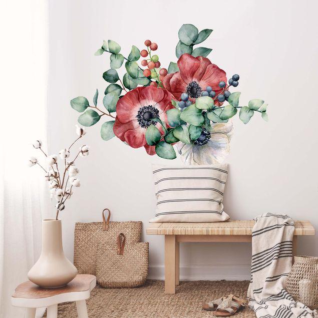 Wandtattoo - Aquarell Eukalyptus Anemonen Bouquet XXL