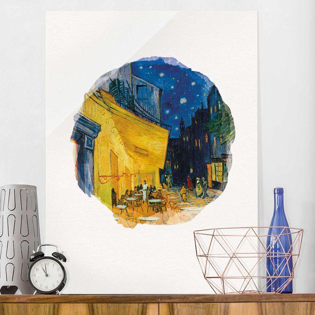 Glasbild - Wasserfarben - Vincent van Gogh - Café-Terrasse in Arles - Hochformat 4:3
