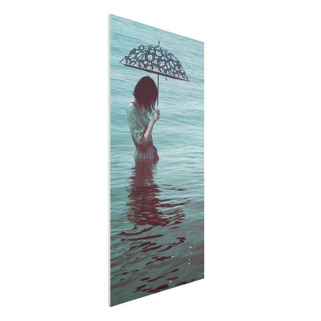 Forex Fine Art Print - Spaziergang im Wasser - Hochformat 2:1
