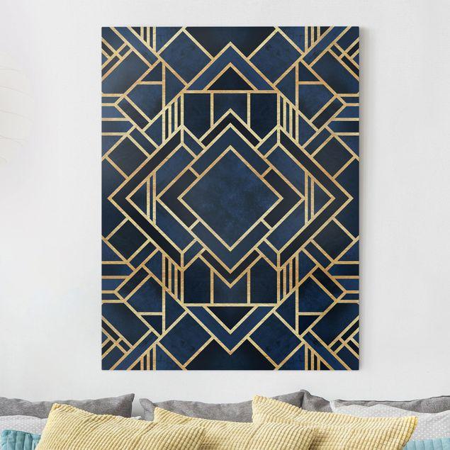 Leinwandbild - Art Deco Gold - Hochformat 4:3
