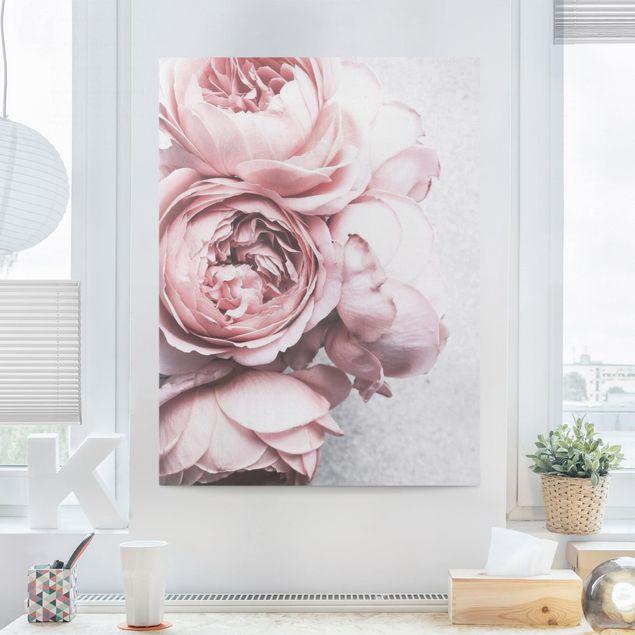 Leinwandbild - Rosa Pfingstrosenblüten Shabby Pastell - Hochformat 4:3