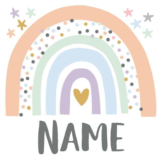 Wandtattoo mit Wunschtext - Regenbogen mit Wunschnamen Pastell