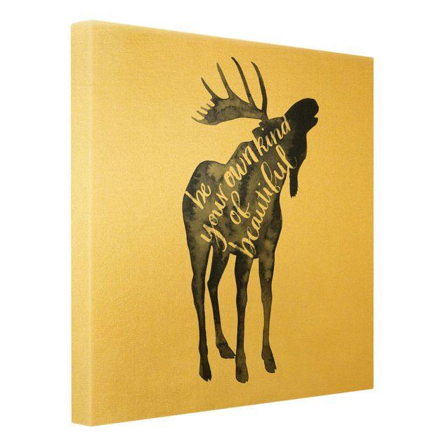 Leinwandbild Gold - Tiere mit Weisheit - Elch - Quadrat 1:1