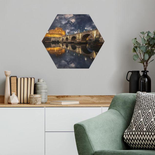 Hexagon Bild Alu-Dibond - Ponte Sant'Angelo in Rom