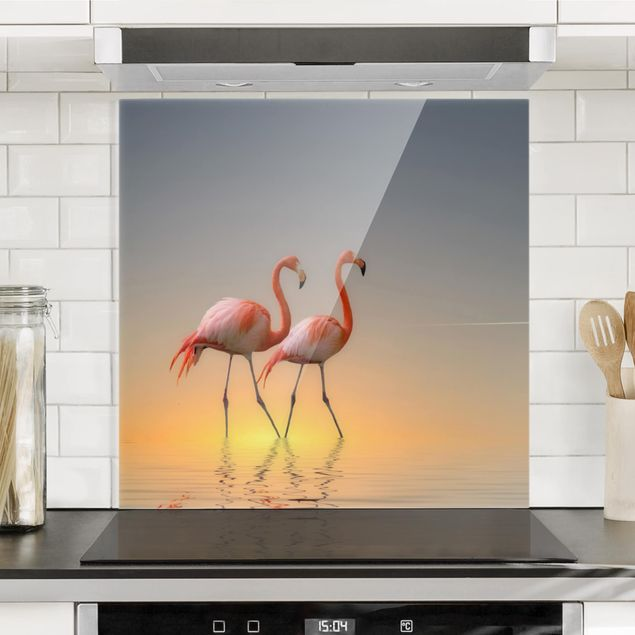 Glas Spritzschutz - Flamingo Love - Quadrat - 1:1