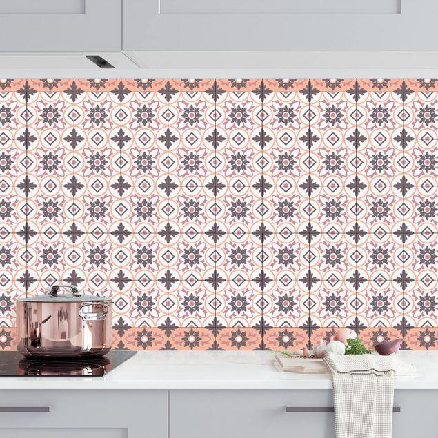 Küchenrückwand - Geometrischer Fliesenmix Blume Orange
