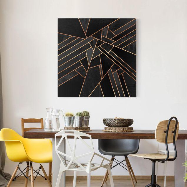Leinwandbild - Schwarze Dreiecke Gold - Quadrat 1:1