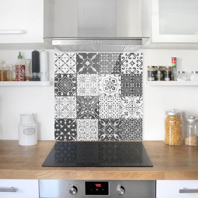 Glas Spritzschutz - Fliesen Mustermi: Grau Weiß - Quadrat - 1:1