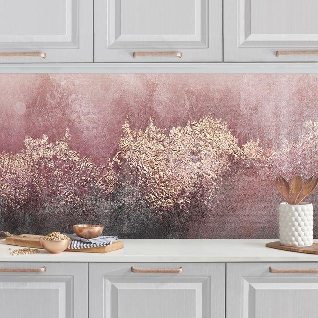 Küchenrückwand - Goldene Dämmerung Rosa