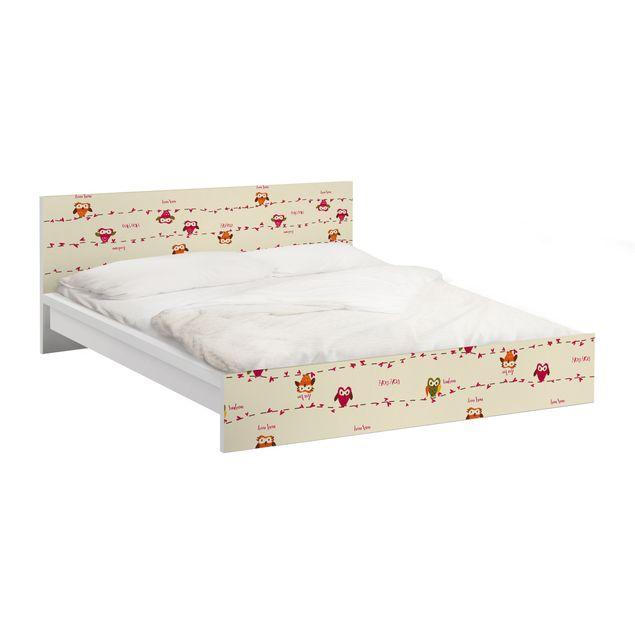 Möbelfolie für IKEA Malm Bett niedrig 140x200cm - Klebefolie Owl Howl