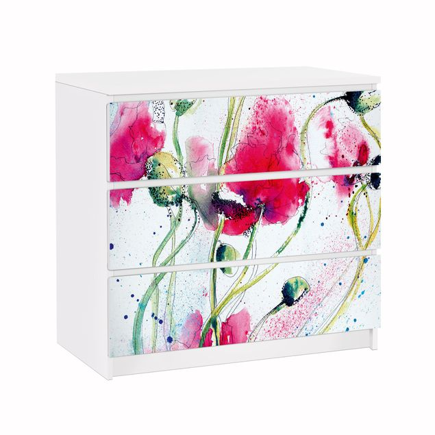 Möbelfolie für IKEA Malm Kommode - Klebefolie Painted Poppies
