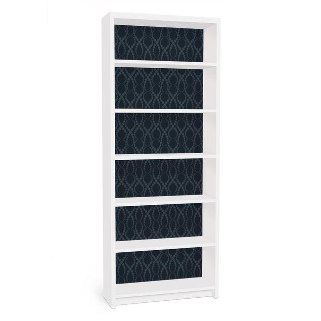 Möbelfolie für IKEA Billy Regal - Klebefolie Schwarze Perlen Ornament