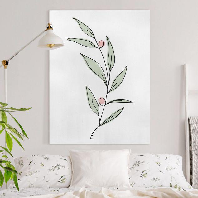 Leinwandbild - Zweig mit Beeren Line Art - Hochformat 4:3